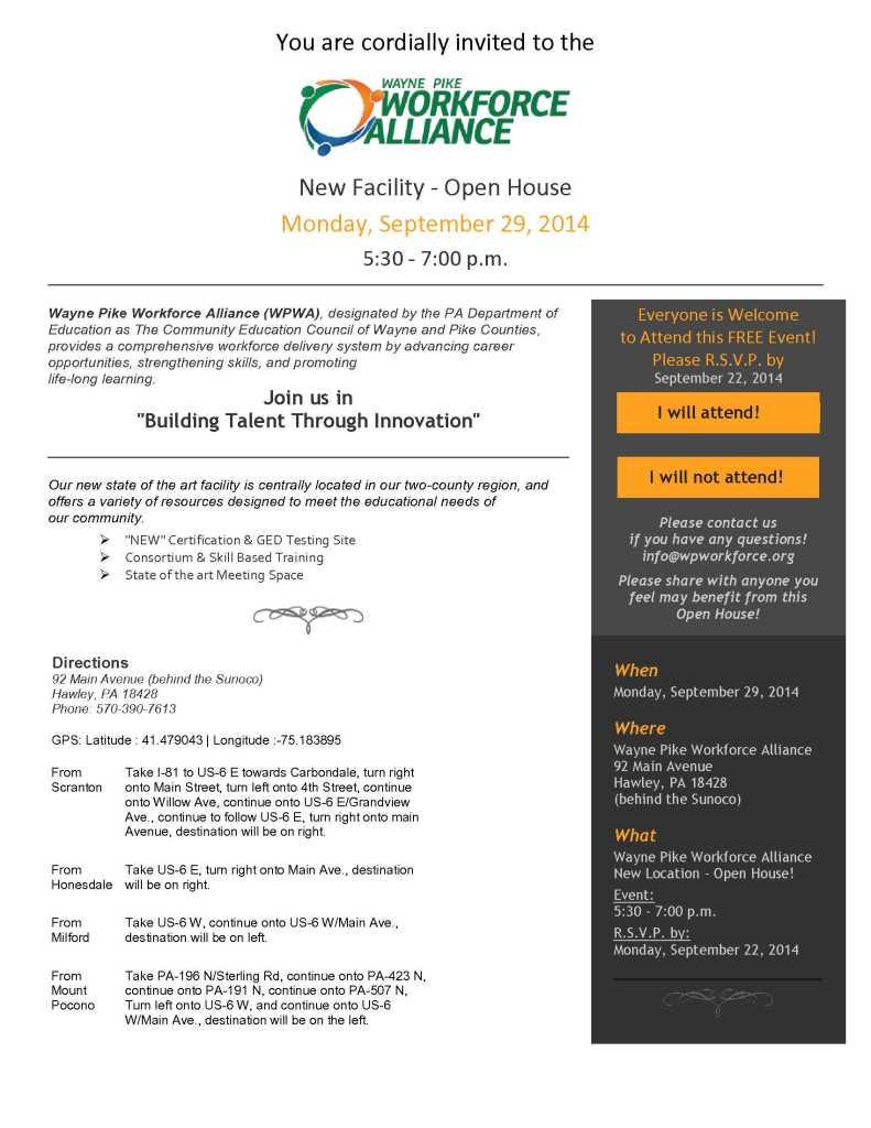 Wayne Pike Workforce Alliance - Open House 9-29-14