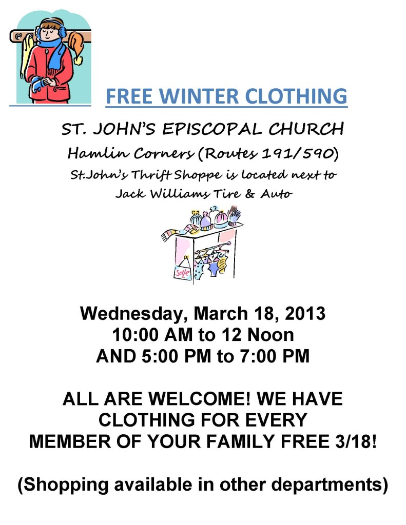 Free Clothing Event MARCH 2015