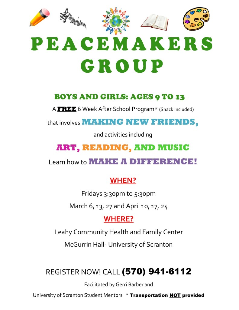 Peacemakers Flyer Spring 2015