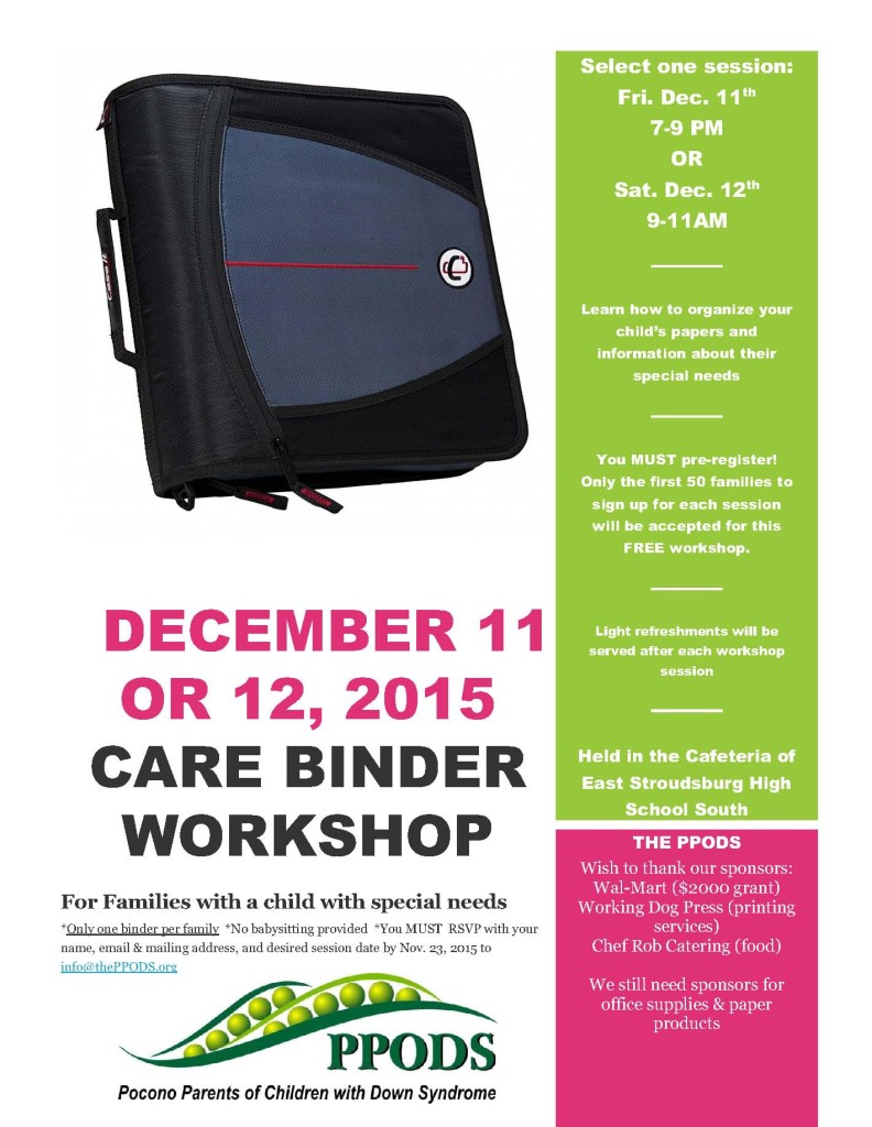 Care binder workshop flyer